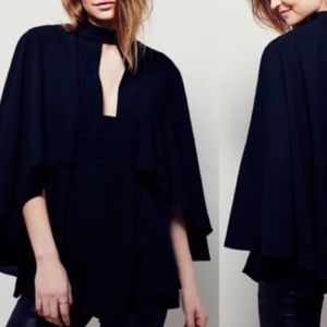 Free People Black Blouse Keyhole